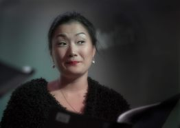 "Actress Hana Kim as Hollywood Reporter Libby Collins in the radio play ""Sorry Wrong Number"" by playwright Lucille Fletcher. Photo: Uka Meissner-DeRuiz"